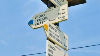 Bohemian paradise self-guided tour Czech Republic signboard