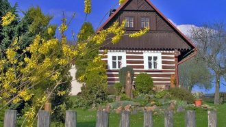 Bohemian paradise self-guided tour Czech Republic wooden cottage